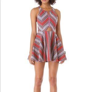Line & Dot Tiangle Cut Out Zipper Dress, Tribal